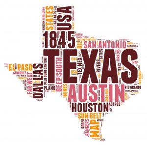 Image of the state of texas with the cities spelled out in the middle