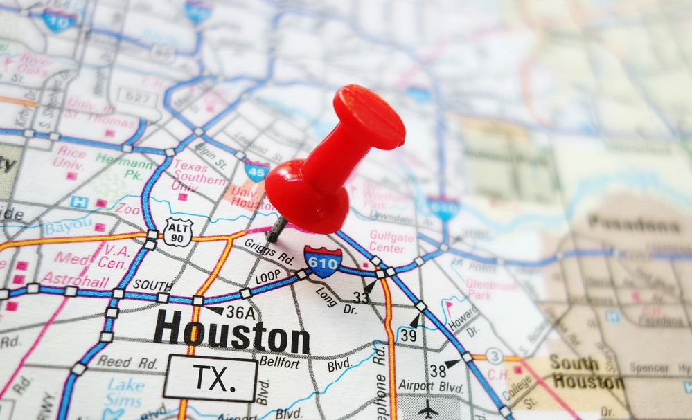 Houston Map with Pin